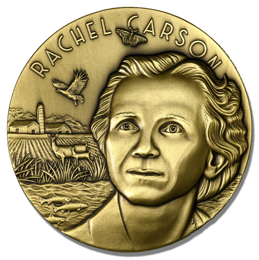 Rachel Carson medal obv trans shadow